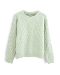 Crisscross Pattern Fuzzy Knit Sweater in Lime