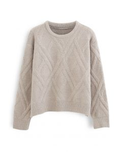Crisscross Pattern Fuzzy Knit Sweater in Sand