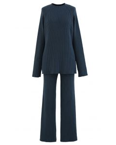 Rib Knit Split Hem Sweater and Pants Set in Teal
