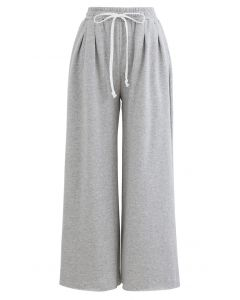 Cropped Wide-Leg Raw Cut Drawstring Pants in Grey