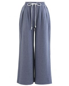 Cropped Wide-Leg Raw Cut Drawstring Pants in Blue