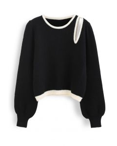Contrast Color Cut Out Shoulder Knit Sweater in Black