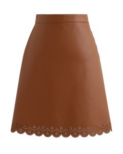 Faux Leather Cutwork Mini Skirt in Caramel