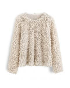 Shaggy Fringe Faux Fur Pullover in Cream