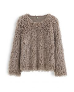 Shaggy Fringe Faux Fur Pullover in Taupe