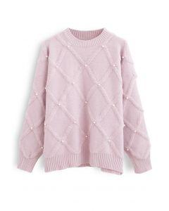 Diamond Pearls Trim Fuzzy Knit Sweater in Pink