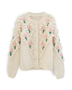 Stitch Floral Diamond Pom-Pom Hand Knit Cardigan
