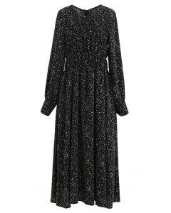 Bouquet Floret Shirred Chiffon Dress in Black