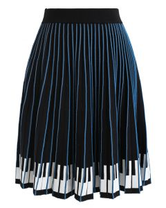 Playing Piano Striped Skater Knit Skirt
