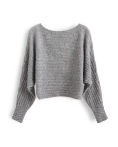 Fuzzy Boat Neck Crop Knit Sweater in Grey