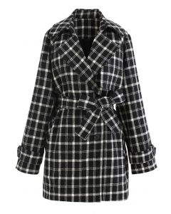 Double-Breasted Plaid Wool-Blend Coat in Black