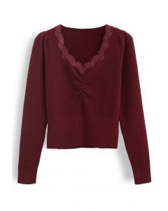 Sweetheart Lace Neck Knit Top in Wine