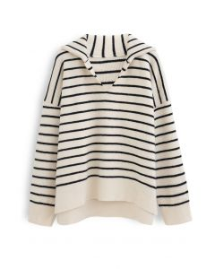 V-Neck Flap Collar Hi-Lo Sweater in Stripe