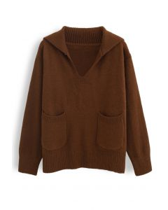 V-Neck Flap Collar Pocket Sweater in Brown