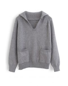 V-Neck Flap Collar Pocket Sweater in Grey