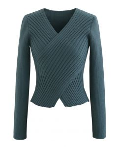 Crisscross Fitted Rib Knit Top in Teal
