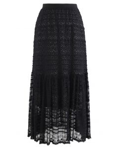 Floret Embroidered Lace Overlay Maxi Skirt in Black