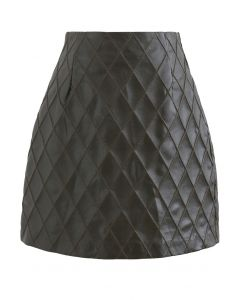 Diamond Textured Faux Leather Bud Skirt in Dark Green