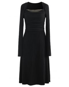 Mesh Overlay Square Neck Rib Knit Dress in Black