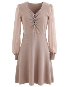 Sheer Sleeves Button Trim Ruched Knit Dress in Light Tan