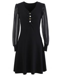 Sheer Sleeves Button Trim Ruched Knit Dress in Black