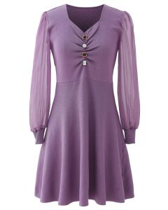 Sheer Sleeves Button Trim Ruched Knit Dress in Lilac