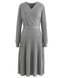 Belted Wrap Rib Knit Midi Dress in Grey