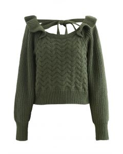 Square Neck Braid Ribbed Crop Sweater in Green