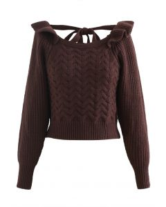 Square Neck Braid Ribbed Crop Sweater in Brown