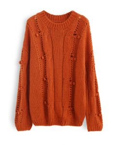 Pom-Pom Eyelet Chunky Knit Sweater in Orange