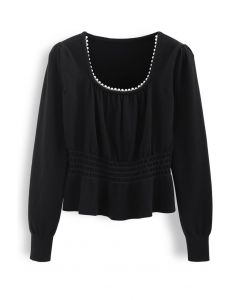 Pearl Square Neck Shirred Peplum Knit Top in Black