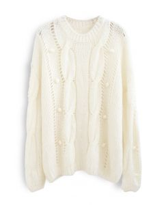 Pom-Pom Eyelet Chunky Knit Sweater in White