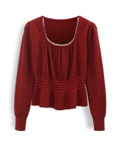 Pearl Square Neck Shirred Peplum Knit Top in Wine