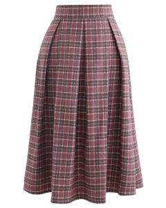 Wool-Blend Pleated Plaid Skirt in Berry