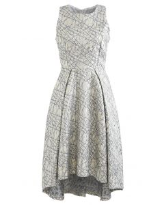 Glitzy Lines Embossed Jacquard Waterfall Dress