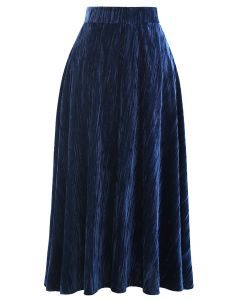 Velvet Flare Hem Midi Skirt in Navy