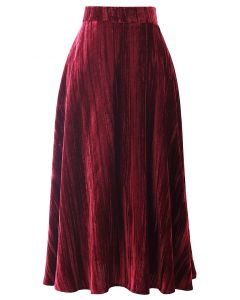 Velvet Flare Hem Midi Skirt in Wine