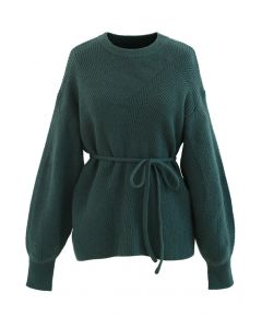Cozy Ribbed Knit Sweater with String in Dark Green