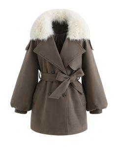 Faux Fur Collar Bubble Sleeves Wool-Blend Coat in Brown