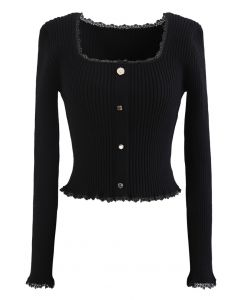 Square Neck Button Decorated Crop Knit Top in Black
