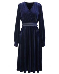 V-Neck Belted Velvet Wrap Dress in Navy