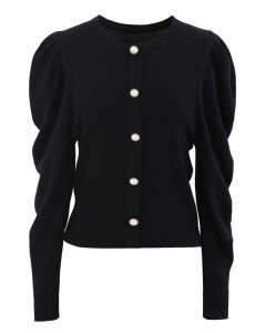 Button Ribbed Puff Sleeve Knit Top in Black