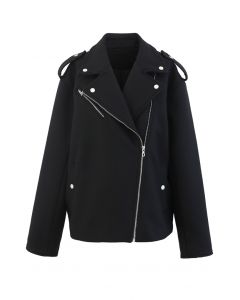Wool-Blend Zipper Moto Jacket in Black