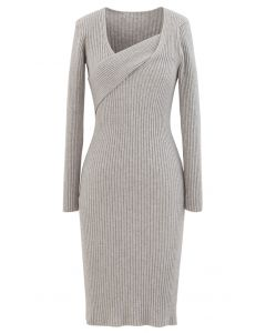 Surplice Wrap Front Ribbed Knit Dress in Linen
