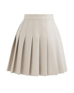 Pleated Faux Leather Mini Skirt in Cream