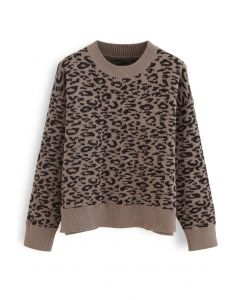 Leopard Pattern Round Neck Knit Sweater in Brown