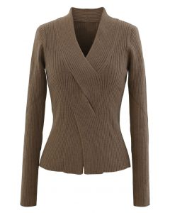 Cross Front Ribbed Knit Top in Brown