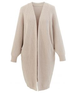 Batwing Ribbed Knit Longline Cardigan in Sand