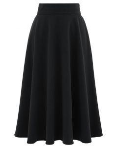 High Waist A-Line Flare Midi Skirt in Black