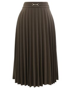 Horsebit Trims Wool-Blend Pleated Midi Skirt in Brown